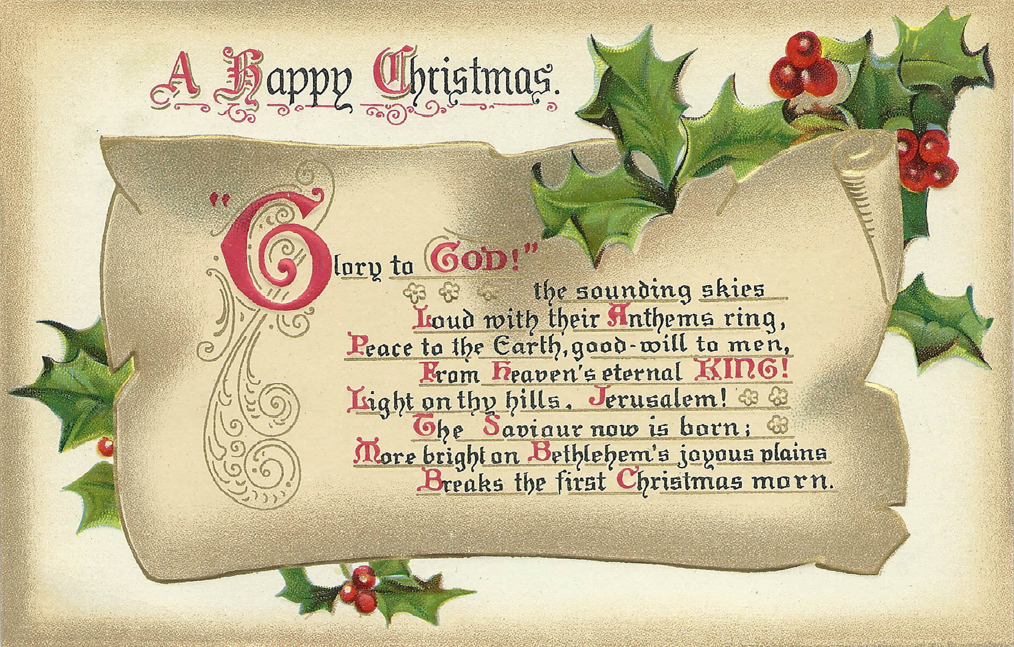 Meaning of 12 days of christmas - Another Old Christmas Postcard This Has Some Religious Sentiments To Remember The Original Meaning Of The Day