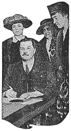 Secretary of State Hugo of New York, signing woman suffrage bill.